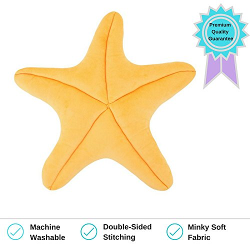 Medium Floor Pillow (Starfish Pillow for use as Floor Pillow or Accent Pillow in Peach Color - Soft and Cozy for a Little Mermaid's Bedroom or Beach House Decor)