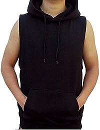 Men's Solid Hoodie Vest Sleeveless Hoodie Black S-4XL