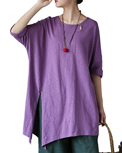 Aeneontrue Women's Cotton Short Sleeve Irregualr Hem Tunic Tops T-Shirts Blouses Tees Purple X-Large