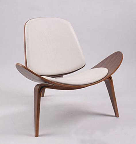 Limari Home Drake Collection Modern Veneered Walnut Finished Upholstered Curved Lounge Chair, White