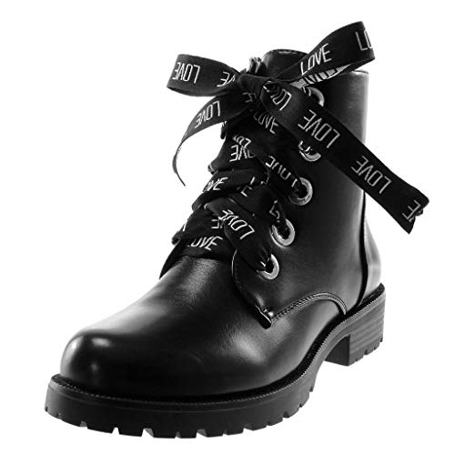 Angkorly - Women's Fashion Shoes Ankle Boots - Booty - Combat Boots - Biker - Laces - Ribbon Block Heel 3.5 cm Black