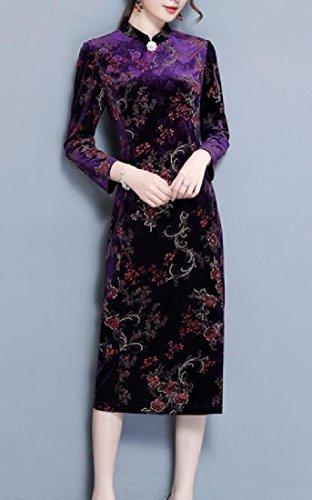 Floral Collar Velvet Pattern1 Stand Dress Cheongsam Printing Coolred Women fqPwxT