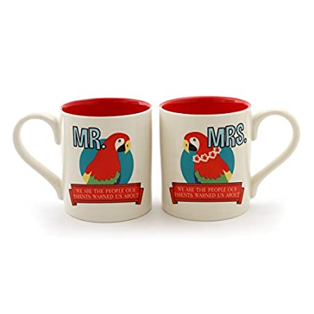 Parrot Head Stoneware Coffee Mug Set 12 oz Multicolor Enesco 6000144 Margaritaville By Our Name Is Mud Mrs