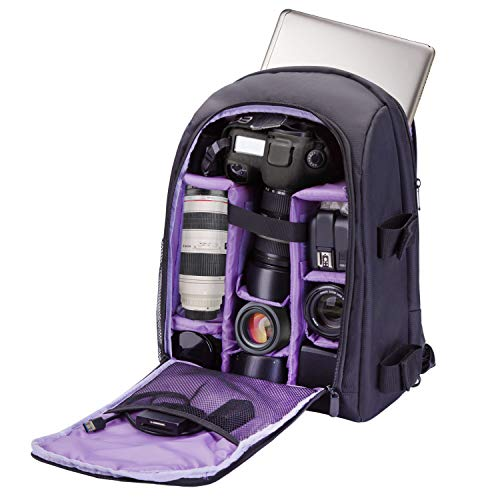 Camera Backpack Bag Waterproof by G-raphy for DSLR/SLR Cameras (Canon, Nikon, Sony and etc), Laptops, Tripods, Flashes, Lenses and Accessories (Purple)