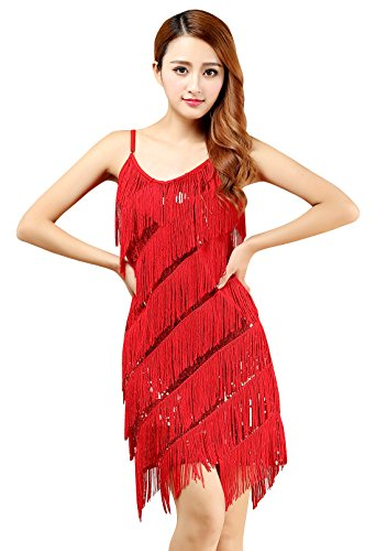 Adult Women 1920s Party Flapper Dress Sexy Sequin Halter Dance Dress for Salsa Samba Rumba Tango Latin Dancing ()