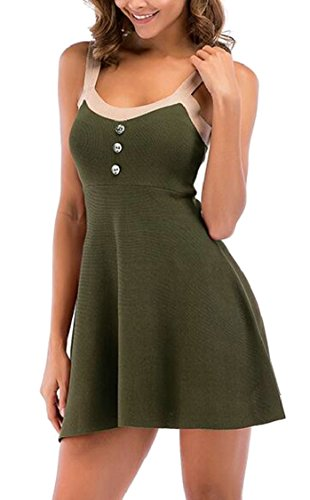 Buttons Fashion Womens Knitted Dress Dress Party Cami Sexy Green Jaycargogo Swing 5Xgqq