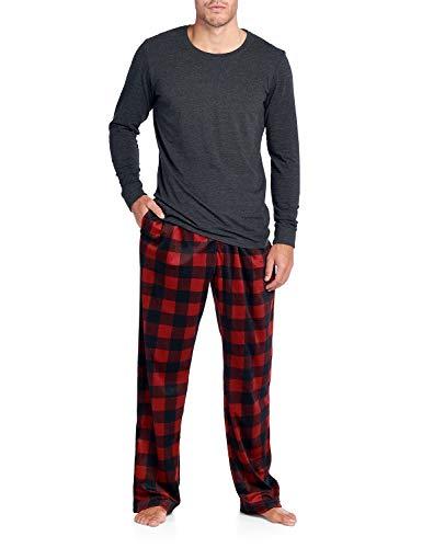 Pj Set Check (Ashford & Brooks Men's Jersey Knit Long-Sleeve Top and Mink Fleece Bottom Pajama Set - Red Buffalo Check - 3X-Large)