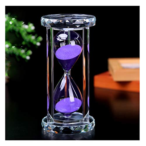 SZAT Hourglass Sand Timer Clock Romantic Mantel Office Desk Coffee Table Book Shelf Curio Cabinet Christmas Birthday Present Gift Box Package(Purple,Crystal,30 Minutes) -