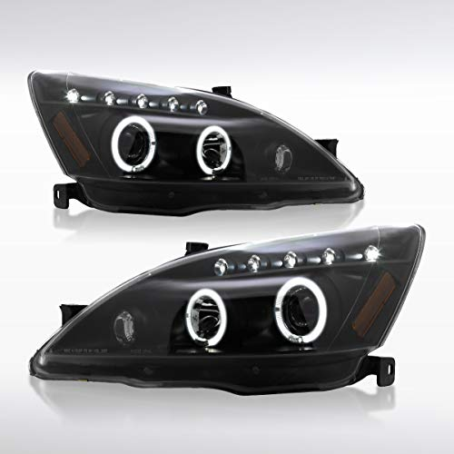 Autozensation For Honda Accord 2Dr/4Dr JDM Black LED Halo Projector Headlights PAIR