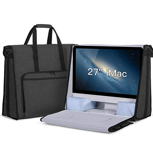 Damero Carrying Tote Bag Compatible with Apple 27″ iMac Desktop Computer, Travel Storage Bag for iMac 27-inch and Other Accessories, Black