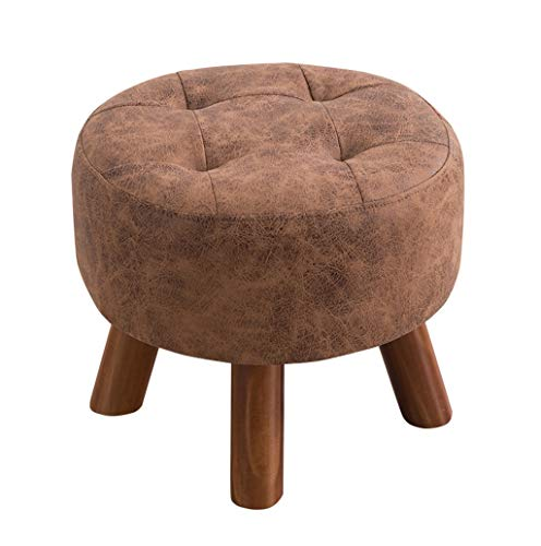 3 Foot Round Bench - ZHILIAN Sofa Stool, Multi-Function Leather Round Footstool, Cushioned Dressing Stool, Shoe Bench, -3 Foot Support, Size 40x40x32cm