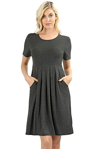 Women's Pleated Swing Dress Short Sleeve Casual T Shirt Loose Dress with Pockets - Charcoal (X-Large)