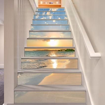 3d Sunrise Beach 15 Stair Risers Decoration Photo Mural Vinyl Decal Wallpaper Murals Wallpaper Mural Us 13x H 18cm X W 94cm 7 X37