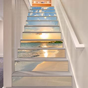 Amazon Com 3d Sunrise Beach 15 Stair Risers Decoration Photo Mural