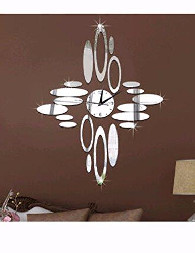 SUNQIAN-Bridal decoration wall clock, green crystal decorative clock, oval mirror quartz clock,b by SUNQIAN