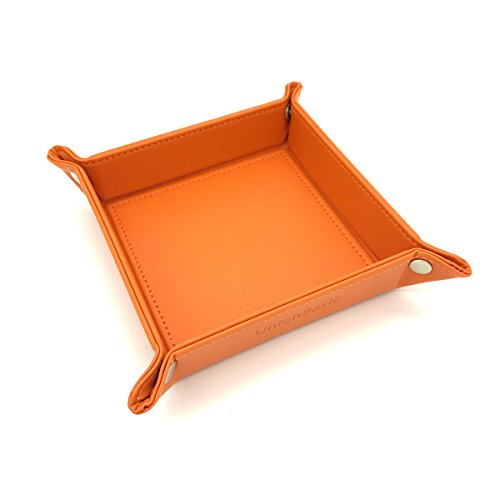 UnionBasic Fully PU Leather Jewelry Catchall Key Phone Coin Tray Change Caddy Bedside Storage Box (Orange) - Orange Box Furniture