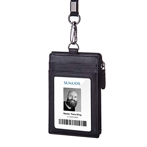 Badge Holder with Zipper, Sukuos Upgraded PU Leather ID Card Holder with 5 Slots, 1 Secure Cover and 20 inch Woven Lanyards for ID Badges, School ID, Drivers License, Debit Card