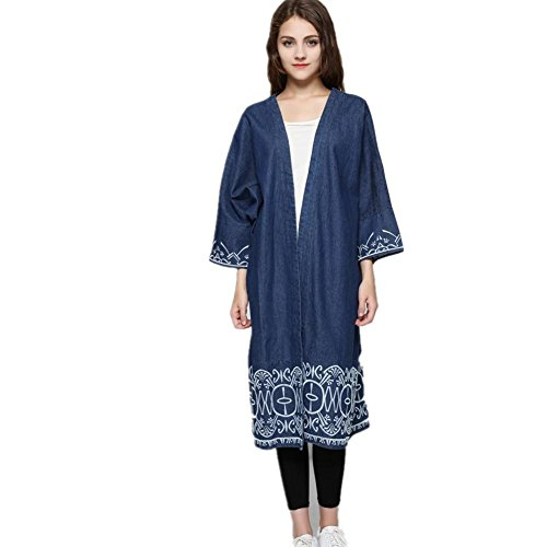 XYLUCKY Bordado de dobladillo de las mujeres ropa de abrigo de trinchera del dril de algodón sin mangas . s