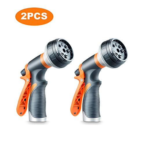 DCLYSI 2 Pack Garden Hose Nozzle,8 Water Sprayer Hose Nozzle Heavy Duty High Pressure Garden Sprayer for Car Wash, Cleaning, Watering Lawn and Garden and Showering Dog & Pets