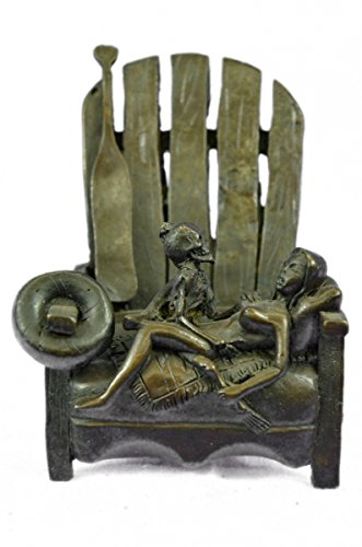 Handmade European Bronze Sculpture Hot Cast Rare Skeleton With A Nymph Resting On A Chair Figurine Bronze Statue -EUXNRQ-035-Decor Collectible (Skeleton Chair)