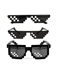 [3 Pack] Thug Life Sunglasses, Men Women Glass 8 Bit Pixel Mosaic Glasses Photo Props Unisex Sunglass Toy - Black