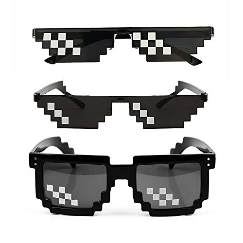 YSSHUI [3 Pack] Thug Life Sunglasses, Men Women Glass 8 Bit Pixel Mosaic Glasses Photo Props Unisex Sunglass Toy - Black -