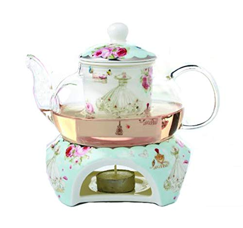 YBK Tech Bone China Coffee Pot Teapot with Warmer and Tea Infuser- Rose and Dress Design