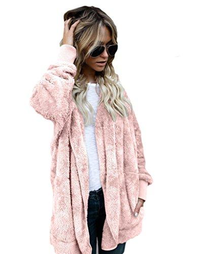 Auspicious de la Invierno mujeres color piel la con beginning sólido las imitación de de ocasional de Rosa moda de capa de bolsillos EqEgnFrv