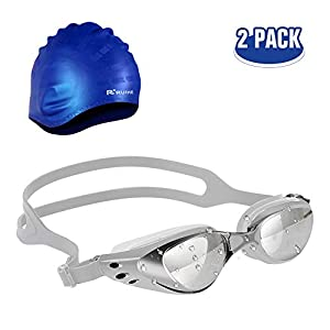Swimming goggles and free earmuffs swimming cap set,Triathlon Swim Goggles No Leaking Anti Fog UV Protection,soft…