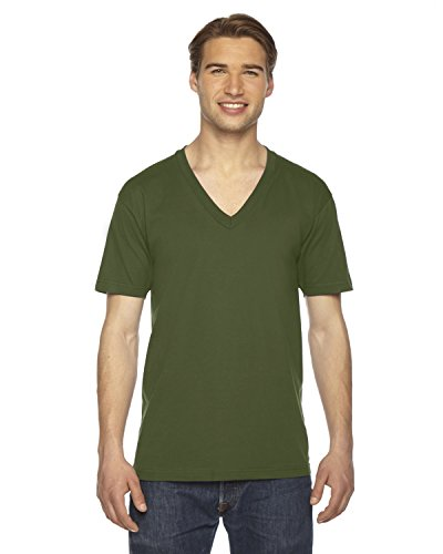 American Apparel  Unisex Fine Jersey Short Sleeve V-Neck, Olive, Small