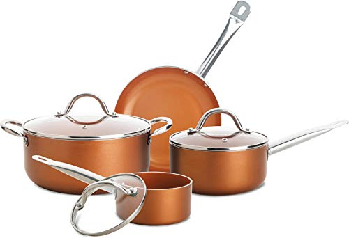 Culinary Edge CE2377 Cookware Set, 7 PC, COPPER