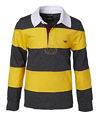 Sportoli Little Boys 100% Cotton Wide Striped Long Sleeve Polo Rugby Shirt - Mustard/Charcoal (Size 2)