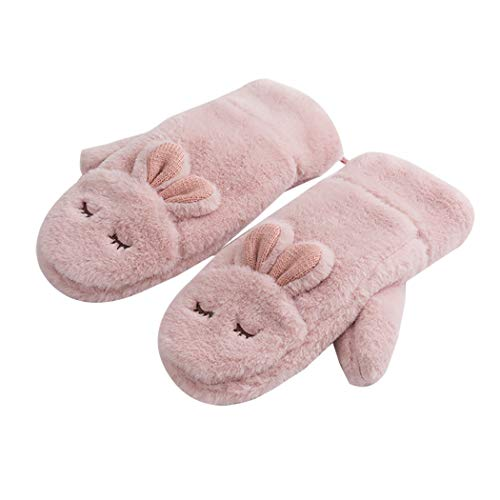 Les umes Girls Petite Womens Cartoon Fuzzy Fluffy Lined Mittens Hanging String Gloves Bunny-Pink