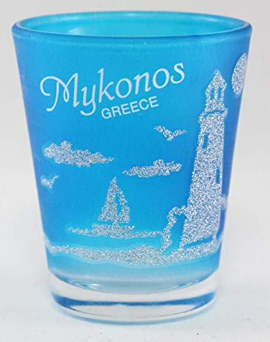Mykonos Greece Neon Nautical Frosted Shot Glass