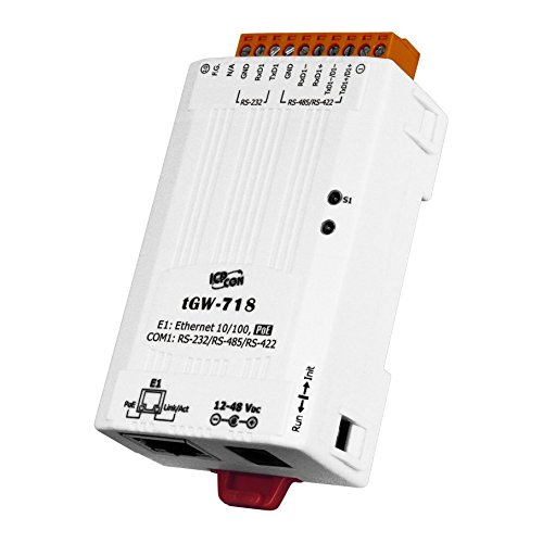 ICP DAS tGW-718 Tiny Modbus TCP to Modbus RTU/ASCII gateway with PoE and 1 RS-232/422/485 Port (RoHS)