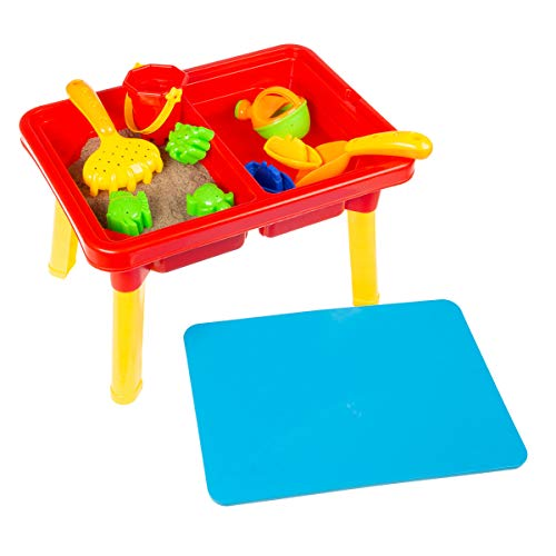Hey! Play! 80-TK036196  Water or Sand Sensory Table with Lid & Toys - Portable Covered Activity Playset for The Beach, Backyard or Classroom