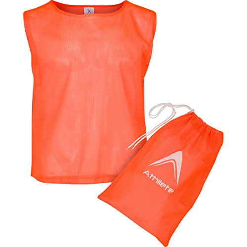 Athllete Set of 6 - Youth Scrimmage Vests/Pinnies/Team Practice Jerseys with Free Carry Bag (Flame Orange, Medium)