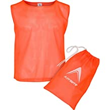 Athllete Set of 6 - Scrimmage Vest/Pinnies / Team Practice Jerseys with Free Carry Bag. Sizes for Children Youth Adult and Adult XL