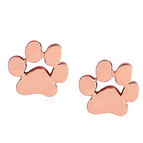 OWMEOT Earring Silver Plated Dog Paw Print Ear Studs Dog Lovers Jewelry (Rose Gold)