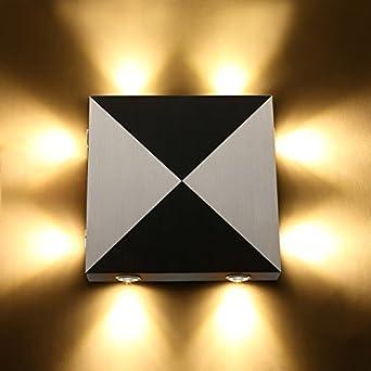 Applique Lampe Aluminium Éclairage En Blanc Amzdeal Chaud Intérieur Carrée Led Decoratif Murale Ybgv76yf