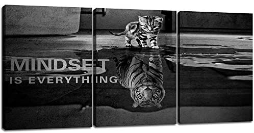 """3 Panels Mindset is Everything Motivational Canvas Wall Art Inspirational Entrepreneur Quotes Poster Print Artwork Painting Picture for Framed Home Decoration Living Room office bedroom 36""""W x 16""""H"""