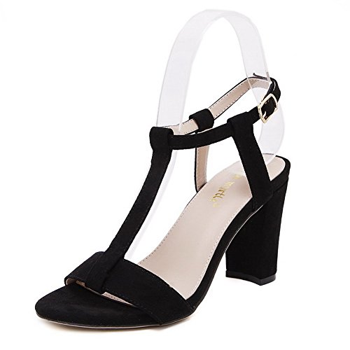 VogueZone009 Women's Frosted Open Toe High Heels Buckle Solid Heeled-Sandals Black 6RbGR
