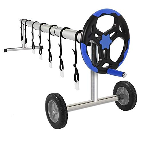 linkey Portable 18 Feet Pool Cover Reel Inground Swimming Pool Solar Solid Wheels Roller Blue & Black Rolling Alumium Pipe