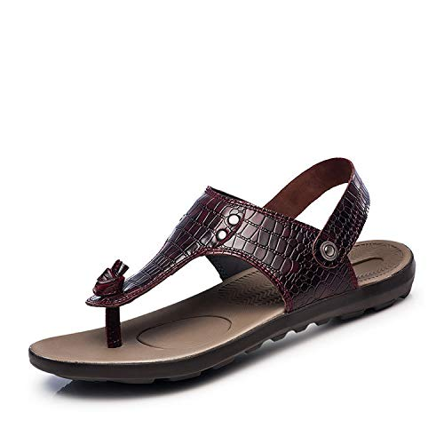 Stay With Me Men Summer Sandals Shoes Beach Sandals Men Casual Shoes Genuine Leather Sandals Male Slippers Plus Size 36-47,Wine Red,10.5 -