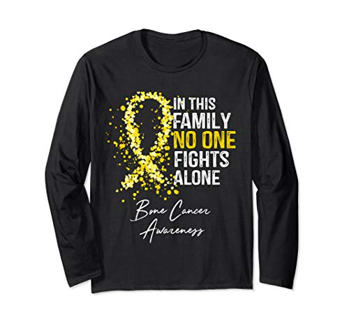 In This Family No One Fights Alone Bone Cancer Awareness Long Sleeve T-Shirt