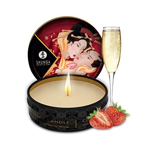 Shunga Vela de Masaje Romance, Aroma de Vino Espumoso con Fresas, Color Blanco - 30 ml