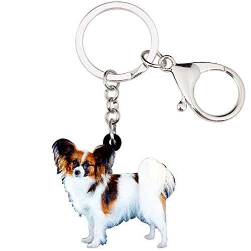 WEVENI Acrylic Papillon Dog Key Chains Rings Jewelry For Women Girls Handbag Car Purse Charms Keychain Pendant Bulk (Brown)