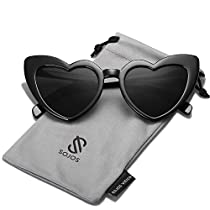 SOJOS Heart Sunglasses Clout Goggle Vintage Cat Eye Mod Style SJ2062