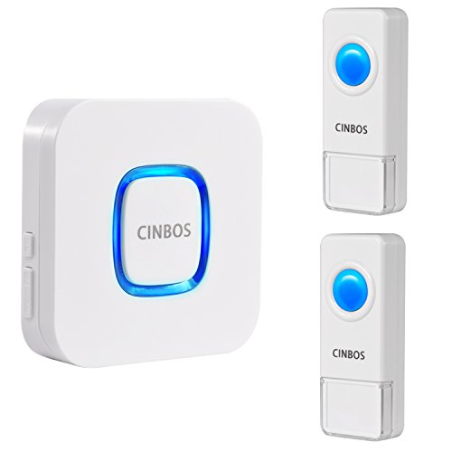 Cinbos Model B17 Wireless Doorbell, Waterproof Chime Kit, 1000 Feet Operating, LED Indicator, 4 Level Volume, 52 Chimes, 1 Plugin Receiver and 2 Remote Push Button Transmitter (Power Heat Register)