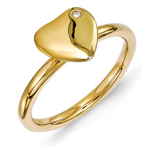 2.25mm Sterling Silver Bezel Polished Stackable Expressions Gold-Flashed Heart Diamond Ring - Size 8 (Diamond Heart Navel Jewelry)